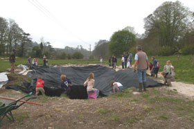Charlton Down Nature Area - Volunteers Lining the Pond